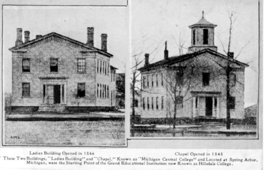 Greyscale photographs of the Hillsdale College ladies building and chapel, 1848.