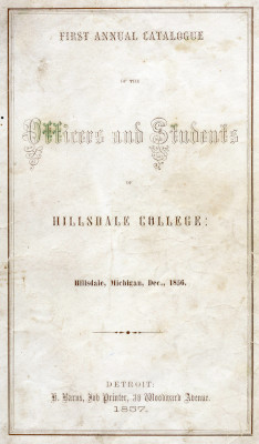Cover of the First Annual Catalogue for Hillsdale