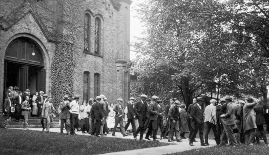 Students leaving the recently dedicated College Baptist Church, 1855.