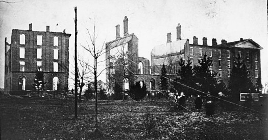 Aftermath of the 1874 fire that destroyed much of the College's original building.
